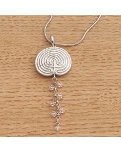 """Halskette """"KRITI"""" silber mit Perlenbehang und Schlangenkette"""